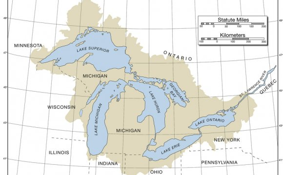 Map of the Great Lakes with