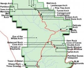 Arches National Park - Layout map