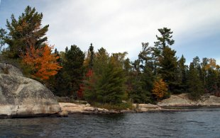 Beautiful Rainy Lake in the fall