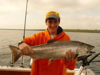 Chinook Salmon can still be caught in Lake Huron but the fishery has shifted to Wallleye in some areas and a mix of salmon and trout species in others.