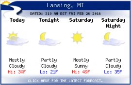 Click for the latest Lansing weather forecast.