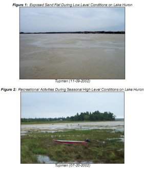Figure 1: Exposed Sand Flat During Low Level Conditions on Lake Huron Figure 2: Recreational Act ivities During Seasonal High Level Conditions on Lake Huron