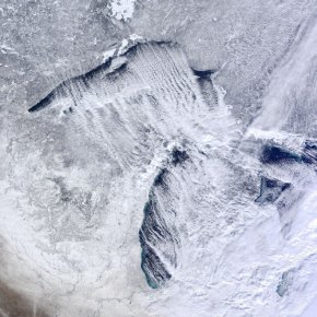 Lake Effect Snow over Great Lakes