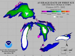 PHOTO: Ice, on average, usually begins to form in shallow parts of the Great Lakes