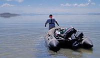 Picture of USGS employee on the Great Salt Lake.