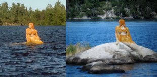 The Rainy Lake Mermaid. The left shows her in the flood of 2014 and the right shows an average year. Photo: Jackie Dupuis-Brandli