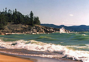 The rugged rocky coast at Lake Superior Provincial Park in Ontario.