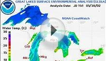 Digital Map of the Great Lakes Surface Water Temperature