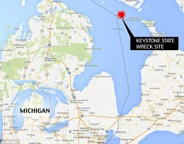 X-marks the spot: The wreck was found in 175 feet of water 30 miles northeast of Harrisville, a small city north of Lansing. The location put the wreck about 50 miles off course